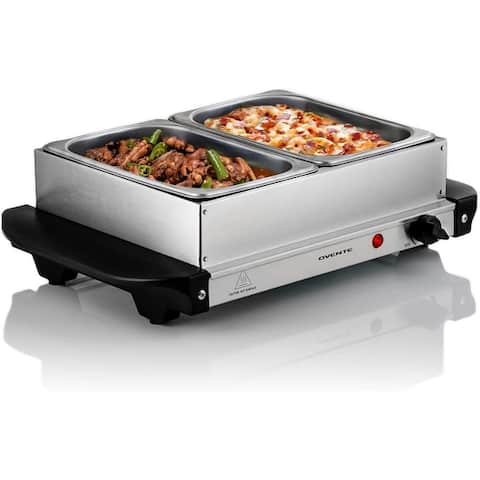 Ovente Electric Food Server & Warmer 2 Chafing Dishes, Silver FW152S