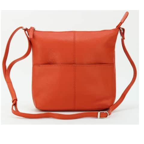 Leather Crossbody Bag with Cell Phone Pocket Orange