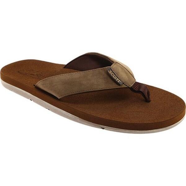 Scott Hawaii Men's Kapena Flip Flop Brown Polyurethane Leather