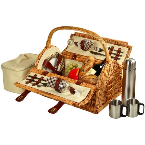 Picnic at Ascot Sussex Picnic Basket for 2 w/Coffee (709C-L)