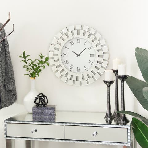 Silver MDF Glam Wall Clock - 2 x 24 x 24 Round