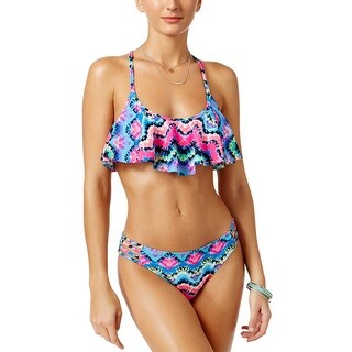 California Waves Womens Rainbow Radio Print Two Piece Set Swimsuit Large L Multi