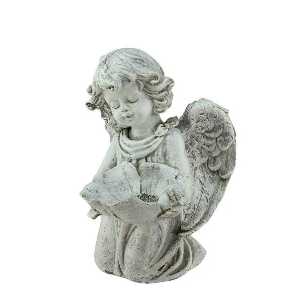 "9.5"" Heavenly Gardens Distressed Kneeling Cherub Angel Bird Feeder Outdoor Patio Garden Statue - N/A"
