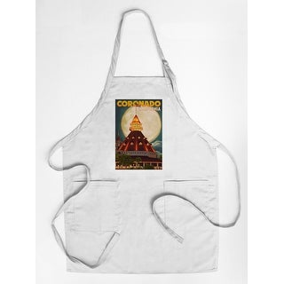 San Diego, California - Hotel Del Coronado & Moon - Lantern Press Artwork (Cotton/Polyester Chef's Apron)