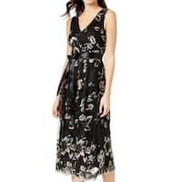 SLNY Black Womens Size 6 Floral Embroidered V-Neck A-Line Dress