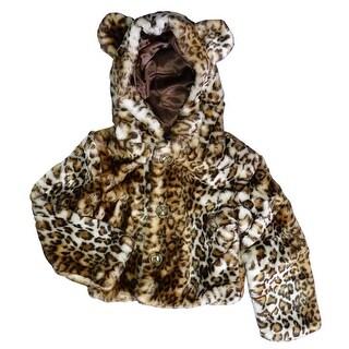 Girls Brown Leopard Critter Ears Button Faux Fur Hooded Jacket 6-12