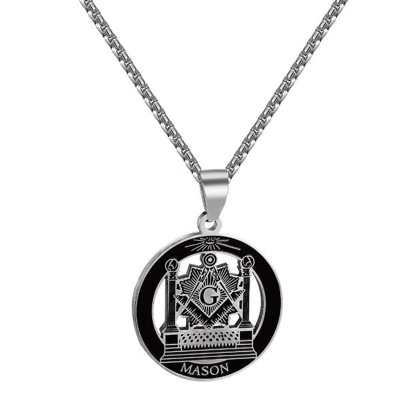Freemason Pillars Pendant Masonic G Pillars Square Compass Stainless Steel Chain