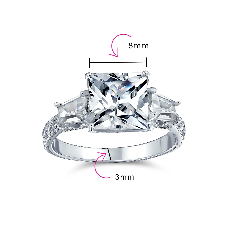 2 ct Sterling Silver Engagement Ring w// 8 mm Brilliant Cut /& Baguette Cut CZ