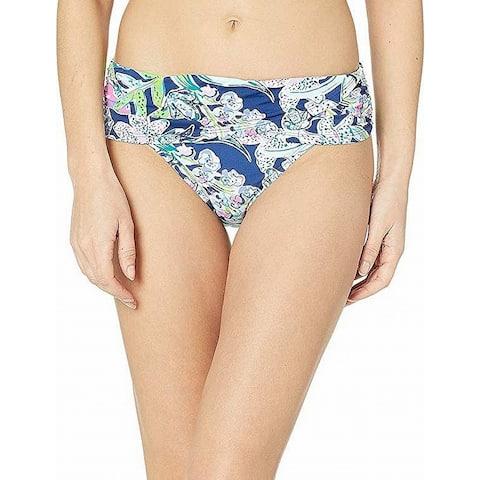 Lilly Pulitzer Women's Swimwear Blue Size 14 Bikini Bottom Floral Printed