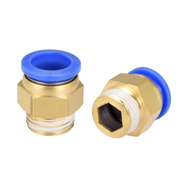"""4 Pcs 1/2"""" G Male Straight Thread 16mm Push In Joint Pneumatic Quick Fittings"""