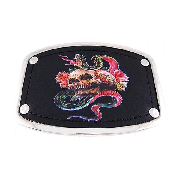 Chrome & Black Leather Tattoo Skull / Snake Belt Buckle