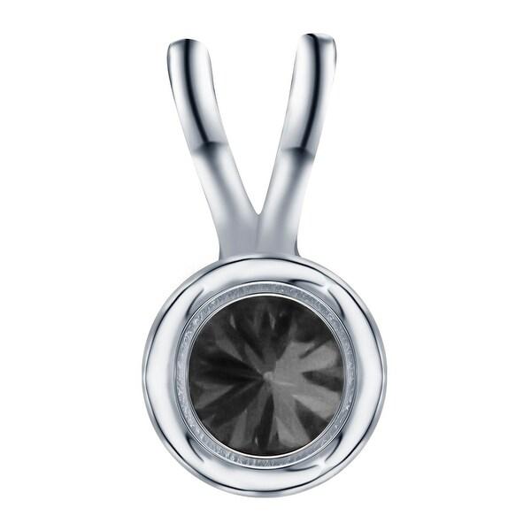 14k Yellow Gold Prism Jewel 0.50 Carat Round Brilliant Cut Bezel Set Black Diamond Solitaire Pendant