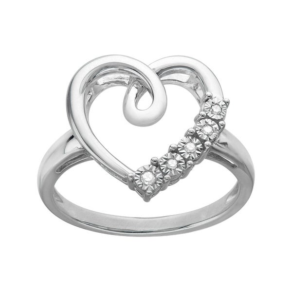 Heart Ring with Diamonds in 14K White Gold-Plated Sterling Silver