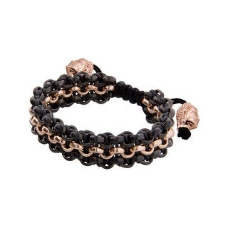 Links Women's Black Three-Row Bracelet in 14K Rose Gold & PVD-Plated Brass - Two-tone