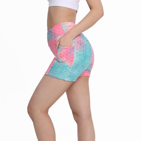 Haute Edition Women's Butt Lifting Tie Dye High Waist Bike Shorts with Phone Pcoket