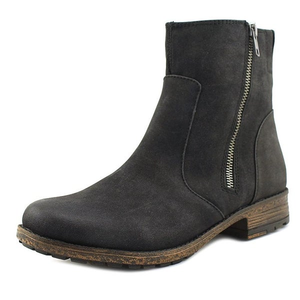 Hokus Pokus Sportster Women Round Toe Leather Black Ankle Boot