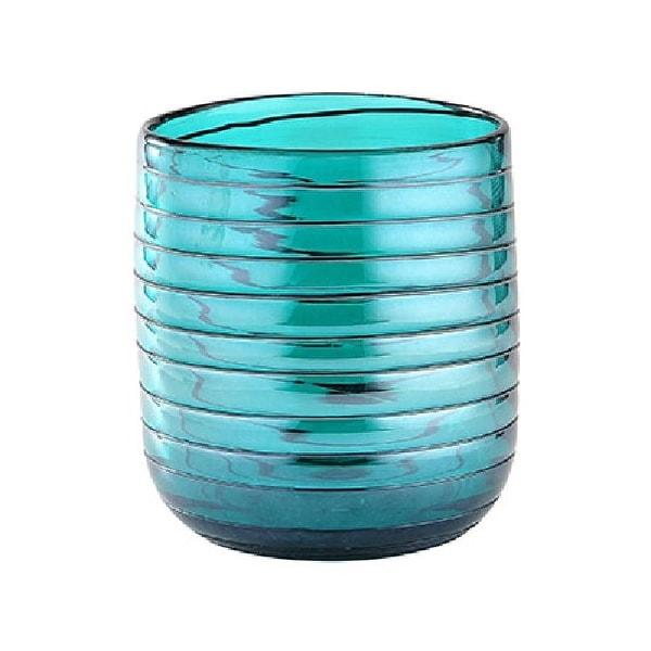 """7.5"""" Blue Cylinder Glass Floral Vase Tabletop Decor - N/A"""