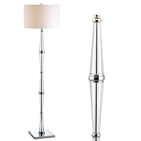 """Francine 60"""" Crystal LED Floor Lamp, Chrome/Clear - 60"""" H x 16"""" W x 16"""" D"""