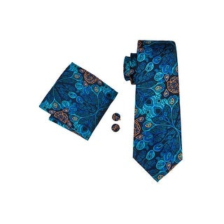 Men's Dark Blue & Orange Floral 100% Silk Neck tie Hanky Cufflinks Set - 59 inch x 3.4 inch