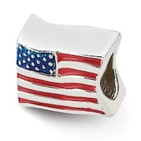 Sterling Silver Reflections USA Flag Bead (4mm Diameter Hole)