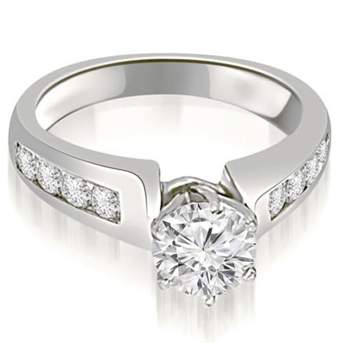 1.25 cttw. 14K White Gold Channel Set Round Cut Diamond Engagement Ring