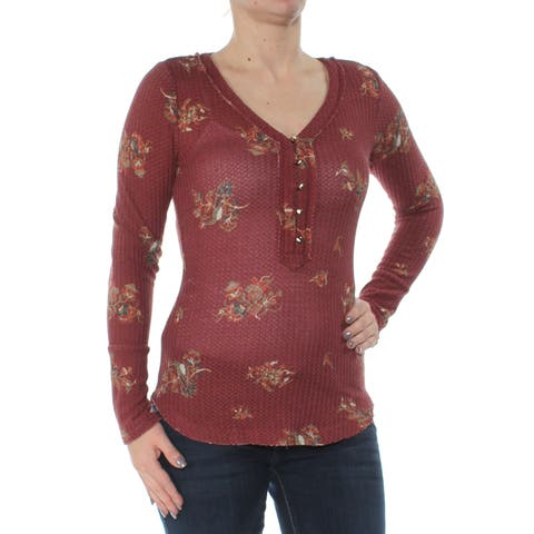 WILLIAM RAST Womens Maroon Buttoned Floral Long Sleeve V Neck Top Size: S