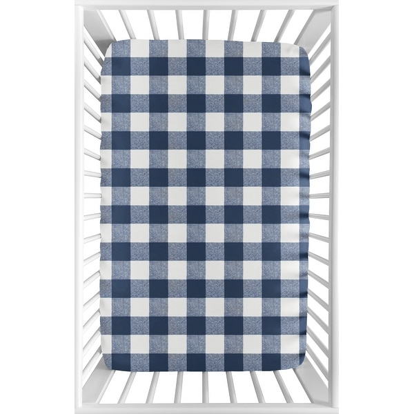 Navy Buffalo Plaid Check Baby Boy Fitted Mini Portable Crib Sheet - Blue White Woodland Rustic Country Farmhouse Lumberjack