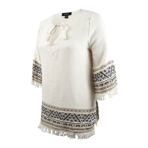 Karen Kane Women's Embroidered Fringe Trim Tunic (L, Gold) - Gold - L