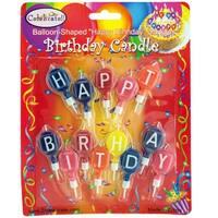 "Balloon-Shaped ""Happy Birthday"" Candles - 20 Units"