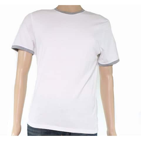 Bar III Mens T-Shirt White Gray Size Small S Crewneck Two Tone Solid