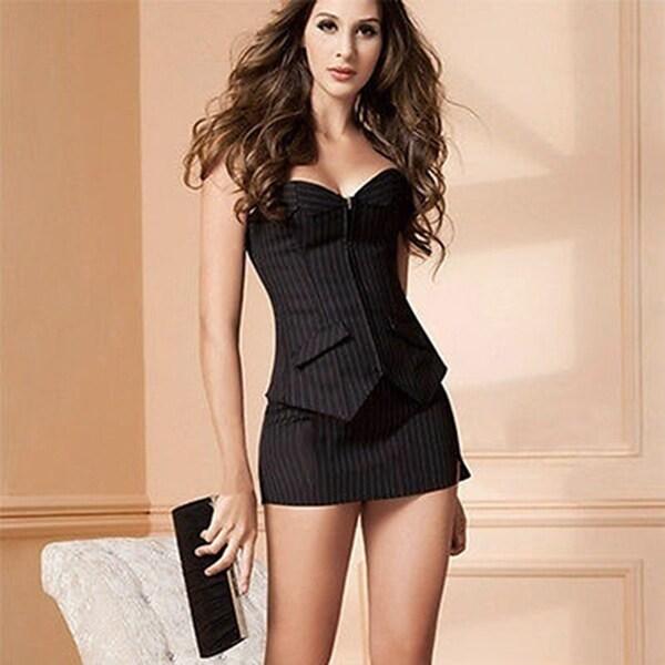 Women's hot Striped Bustier Short Skirt G-String 3Pcs Corset Set Body Shaper