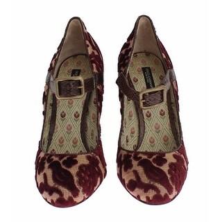 Dolce & Gabbana Red Baroque Velvet Snakeskin Mary Jane Shoes - 40