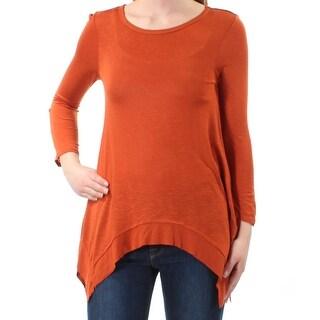 Womens Orange Long Sleeve Jewel Neck Handkerchief Top Size XS