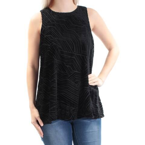 ALFANI Womens Black Velvet Sleeveless Jewel Neck Top Size 6