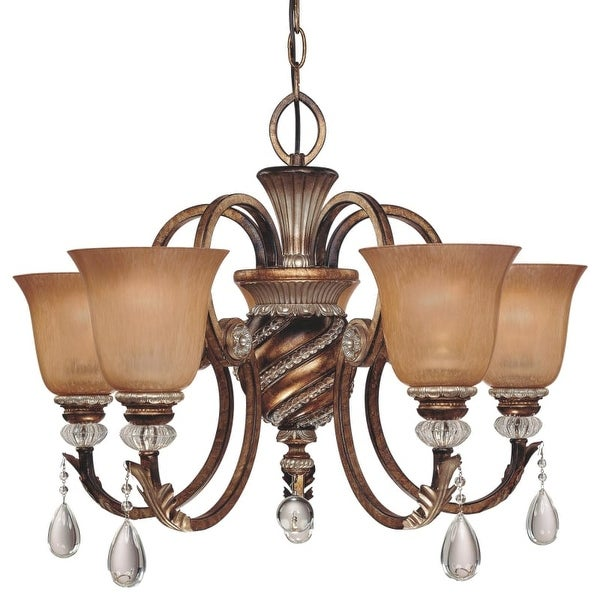 "Minka Lavery ML 174 5 Light 20"" Height 1 Tier Crystal Chandelier from the Aston Court Collection"