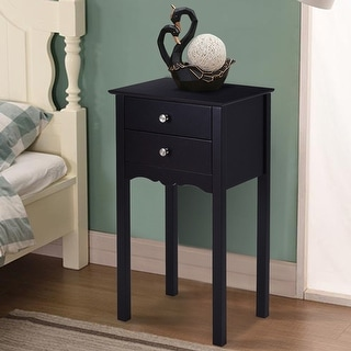 Gymax Side Table End Accent Table Night Stand W/ 2 Drawers Furniture Black