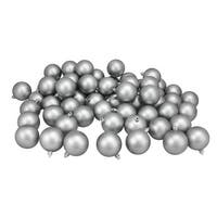"60ct Pewter Gray Shatterproof Matte Christmas Ball Ornaments 2.5"" (60mm)"