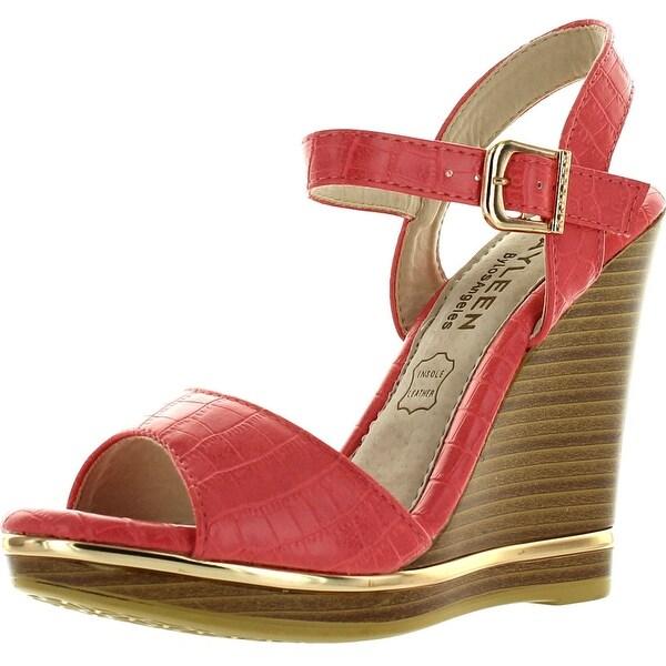 Kayleen Evina-3 Womens Simple Ankle Strap Platform High Heel Wedge Sandals