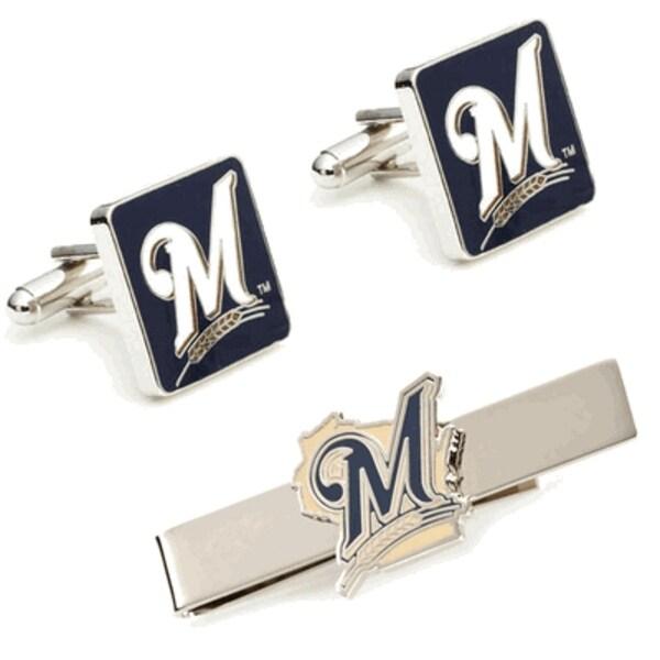 Milwaukee Brewers Cufflinks and Tie Bar Gift Set MLB - Silver