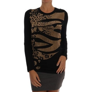 Versace Jeans Black Gold Studded Stretch Pullover Sweater