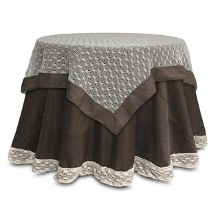 """Pack of 2 Opulent Brown and Ivory Crocheted Christmas Table Toppers 54"""""""