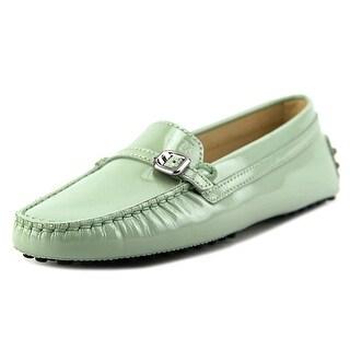 Tod's Heaven Micro Fibbietta Women Round Toe Patent Leather Green Loafer