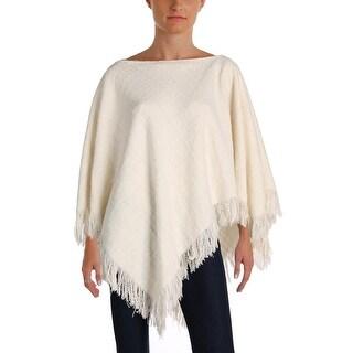 Lauren Ralph Lauren Womens Albreanna Poncho Sweater Wool Fringe - o/s