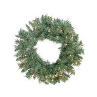 "24"" Pre-lit Minetoba Pine Artificial Christmas Wreath - Clear Lights - green"