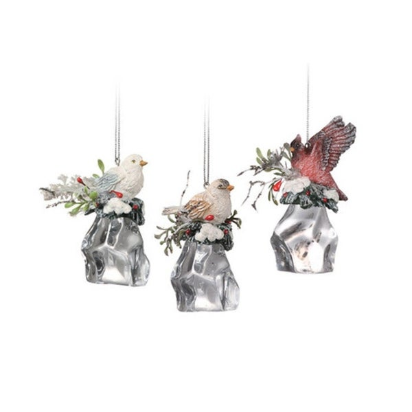 """Club Pack of 12 Icy Crystal Christmas Birds on Ice Cubes Ornaments 3"""" - CLEAR"""