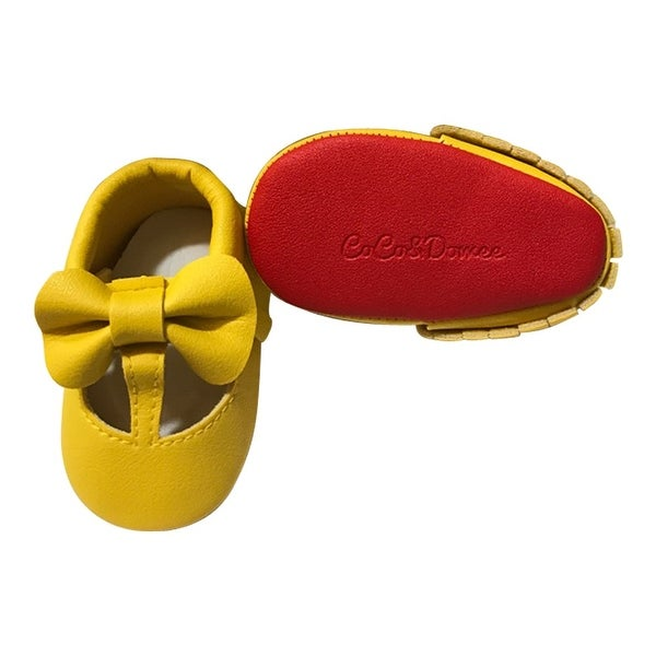 cd70e0900964 Shop Baby Girls Yellow Red Cutout Bow Soft Sole Faux Leather Crib Shoes 3-18M  - Free Shipping On Orders Over  45 - Overstock - 23090695