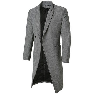 Men Slim Fit Notched Lapel Single Breasted Business Top Coat Overcoat