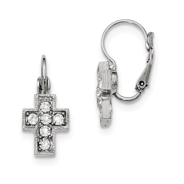 Silvertone Clear Crystal Diamond Shaped Dangle Earrings