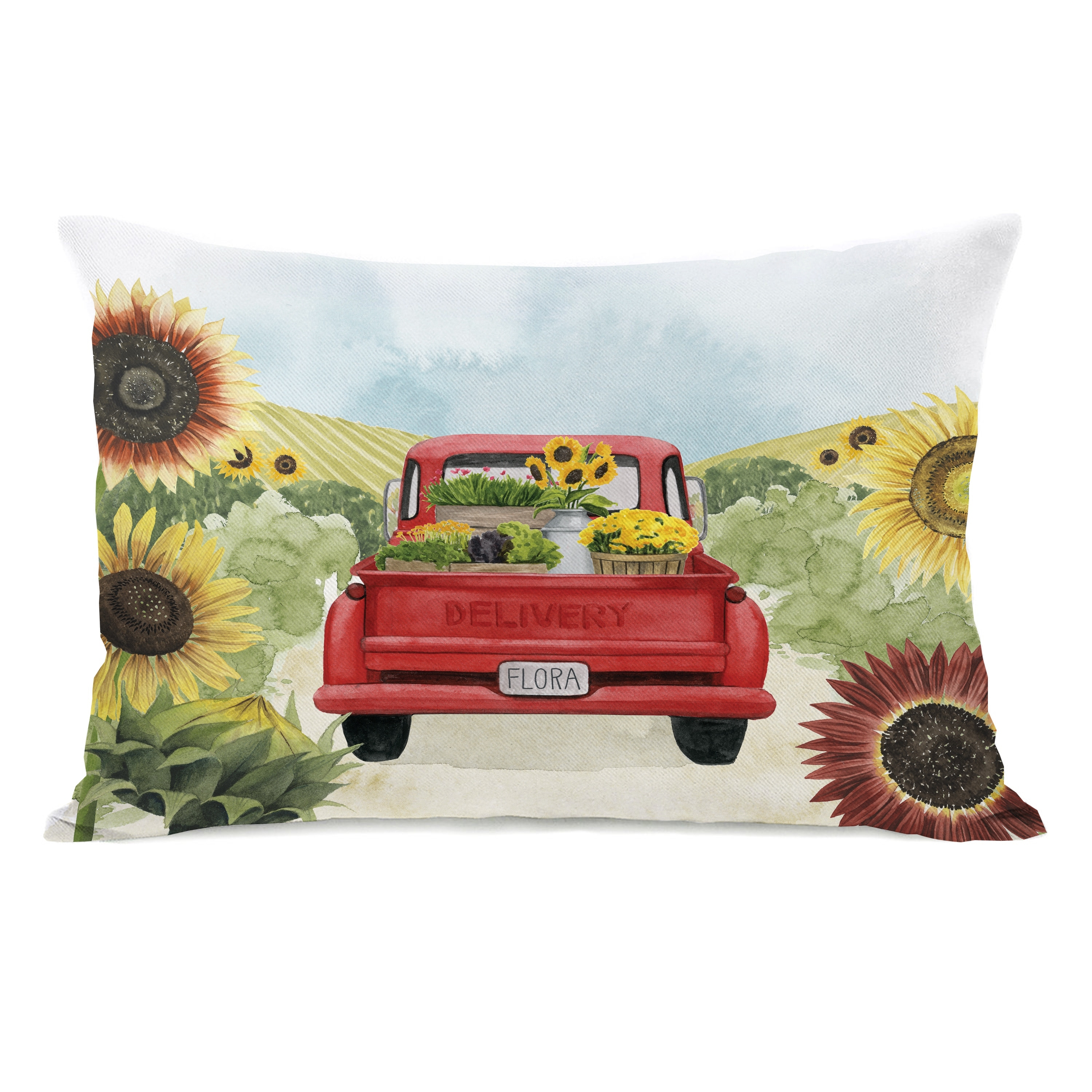 Sunflower Delivery Lumbar Pillow By Grace Popp Overstock 31286144