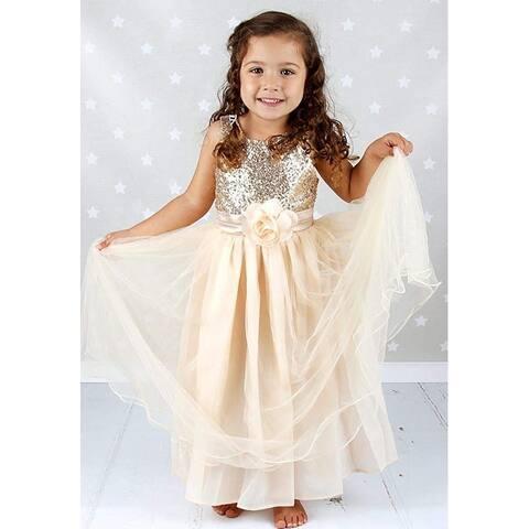 Bow Dream Flower Girl's Dress Sequins Tulle Gold 10